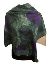 "Christian Dior Vintage 100% Silk Scarf 31"" Square Purple Green Floral Paisley"