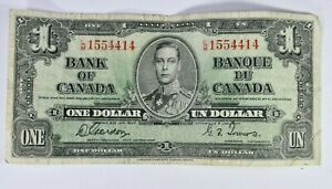 1937 Canada $1 One Dollar Bank of Canada Scarce 99c NO RESERVE  Witter Coin