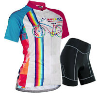 Womens Cycling Bike Bicycle Sports Clothing Short Sleeve Jersey Pants Wear Suit