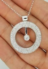 NEW 18K SOLID WHITE GOLD MOVING DIAMOND ROUND CIRCLE OF LIFE PENDANT NECKLACE
