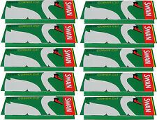 10 x REGULAR SIZE SWAN GREEN CIGARETTE ROLLING PAPERS - 50 PAPERS PER PACK