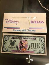 Vintage Walt Disney World $5.00 dollars dollar bill 1988 Goofy Disney company