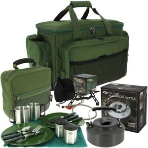 FISHING CAMPING DELUXE CUTLERY COOKING SET GAS STOVE & KETTLE CARRYALL NGT CARP
