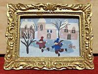 Berthine Marceau / Dijon / Tableau miniature 7 / 5 cm / scène hiver / naïf /1991