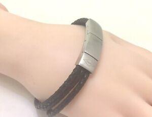 """Fossil Men's Black Multi Strand Bracelet with extender, 7.5""""/19cm, RRP £45"""