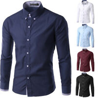 Men's Boy's Long Sleeve Shirt Formal Casual Smart Slim Fit Stylish Tops