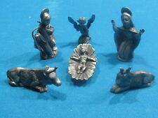 Miniature 6 Piece Nativity  Set Silver Plated Pewter Made in Italy
