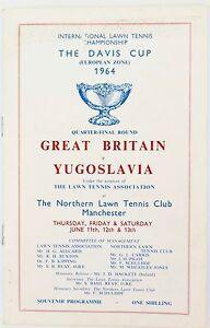 SCARCE 1964 DAVIS CUP PROGRAMME. GREAT BRITAIN v YUGOSLAVIA.