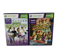 Kinect Sports And Kinect Adventures Xbox 360 Lot of 2 Complete Tested Working