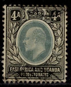 EAST AFRICA and UGANDA EDVII SG23, 4a grey-green & black, USED. Cat £18.