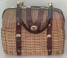 Vtg Structured Woven Straw Wicker Satchel Leather Handle Purse Turn Lock Fabric