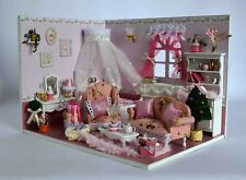 DIY Wooden Dollhouse Miniature Kit W/light / Music Box Princess Dairy Room
