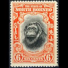 NORTH BORNEO 1931 6c Orang-Utan. SG 296. Animal. Lightly Hinged Mint. (AR355)