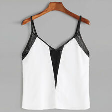 Women Casual Sleeveless Lace Crop Tops Shirt White Blouse Cami Vest Tank Tops
