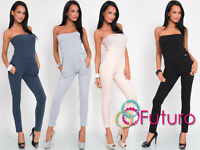 Womens Jumpsuit With Pockets Bandeau Sleeveless Catsuit Playsuit Size 8-12 FT468