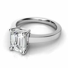 2.0ct Genuine Emerald Cut Moissanite Ring 14kt White Gold 4 Prong Setting Ring