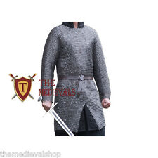 MEDIEVAL CHAINMAIL SHIRT X-LARGE HAUBERK 09MM SCA LARPMILD STEEL FLAT RIVETED