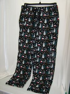 Joe Boxer Men's Xmas Jersey Black Lounge Pajama Pants Snow Scene Size Medium