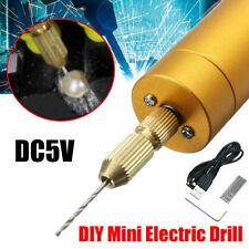DC5V DIY Mini Micro Small Aluminum Electric Motor Hand Drill PCB 10x Twist Bits
