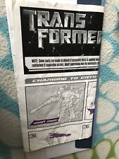 Transformers MOVIE DELUXE PROTOFORM STARSCREAM INSTRUCTION BOOKLET ONLY