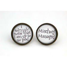 HP 'Mischief Managed' & 'I Solemnly Swear' Earrings in Antique Bronze Glass