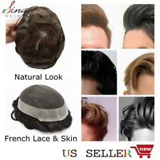 French Lace Mens Toupee Hairpiece Poly Thin Skin Hair Replacement System For Men