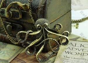 Octopus Necklace Antique Bronze Nautical Steampunk  Squid Pirate Goth Kraken