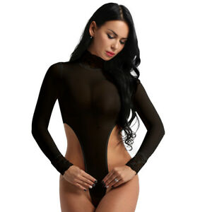 Women Turtleneck Mesh See Through Bodysuit Swimwear Swimsuit Monokini Lingerie