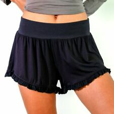 Faceplant Dreams Black Bamboo Ruffle Shorts - Small