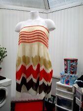 """tsega""cream lined dress with orange and brown pattern b.n.w.t.freesize"