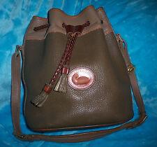 DOONEY BOURKE Khaki  Pebble Leather Bucket Hobo Cross Body Bag-TETON- DRAWSTRING