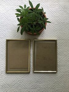 """Pair Matching vintage Picture frames standard 7x5"""" Size Gold Metal"""