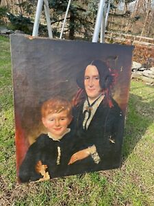 Antique American Folk Art Painting of Mother and Son 1820 by John Blunt