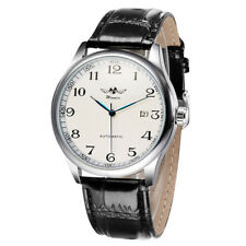 WINNER Simple Automatic Mechanical Leather Unisex Wrist Watch Day Display W Y7G6