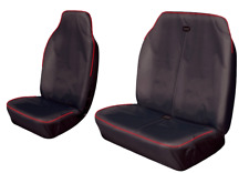 VOLKSWAGEN CRAFTER HEAVY DUTY WATERPROOF BLACK + RED STRIPE VAN SEAT COVERS 2+1
