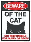 """Beware of Cat Sign 9""""x12"""" Metal"""