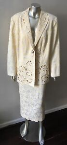 Jacquard Scalloped Vintage 2 Pc Pale Yellow Formal Wedding Party Skirt Suit 14W