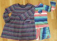 JoJo Maman Bebe Marks and Spencer 2-3 years girl stripe dress jersey rainbow