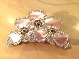 Hair clip crystal claw flowers MC Davidian beige rhinestones  sparkle barrette