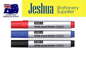 3Pcs DONG-A White Board Markers Black, Blue, Red (MADE IN KOREA)