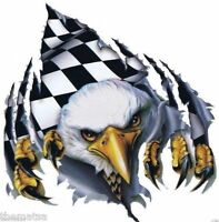 CHECKERED FLAG EAGLE HELMET BUMPER STICKER DECAL MADE IN USA