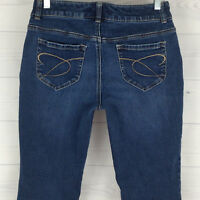 Chico's Platinum Denim Women's Sz 0 = 4R Short Embellished Blue Dark Wash Jeans