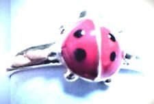 14Kt Pure Solid Yellow Gold Enamel Lady Bug Adjustable Toe/Ring!