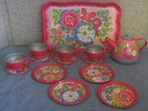 Schylling Pink-Flowered Classic Tin Play Tea Set--CupsPlatesSaucersTeapotTray