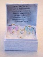 Three Guardian Angel Worry Stress Prayer Friends Trouble Times Glass Gift Box