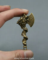 "2.4""Collection Chinese Bronze Zodiac Animal Lucky Dragon Long Axe Amulet Pendant"