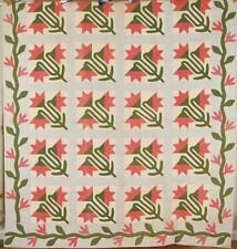 AMAZING Vintage 1860's Carolina Lily Antique Quilt, Vine Border ~MINT CONDITION!