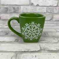 Starbucks Green Square Shaped Holiday Christmas Snowflake Coffee Mug