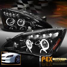 SHINY BLACK Housing 2003-2007 Honda Accord Halo Projector LED Headlight Headlamp