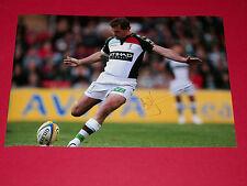 Nick Evans Arlequines Rugby mano firmado Autógrafo 12x8 Foto